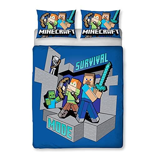 Minecraft Funda de edredón Survive con licencia oficial | Diseño reversible de 2 caras con funda de almohada a juego, polialgodón, azul (doble)