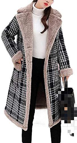 ENFLEEF Women Overcoat Faux Shearling Winter Thick Lapel Fleece Down Parka Jacket