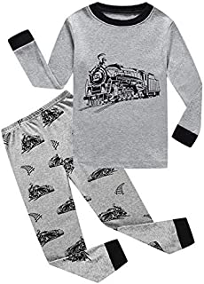 Image of Soft Cotton Train Pajamas for Toddler Boys and Infants - See More