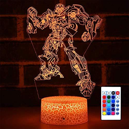 3D-Nachtlicht, optische Täuschung, Nachtlicht, 16 wechselnde Farben, Nachtlicht mit USB-Fernbedienung, Tischdekoration, Spielzeug für Jungen, Transformers Bumblebee