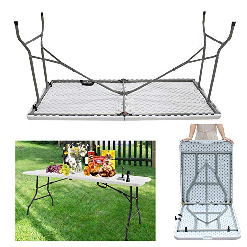 Folding Camping Table 4FT Plastic Top Rectangular Heavy Duty Garden Outdoor Picnic Tables Dining Trestle Table Foldable Height Adjustable - White 4ft x 2ft x 2.4ft (LxWxH)