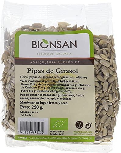 Bionsan Pipas de Girasol Peladas Naturales | Ecológicas | 6 Bolsas de 250 g | Total: 1500 gr.