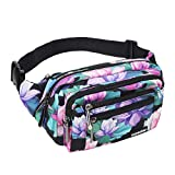 Oxpecker Waist Pack Bag with Rain Cover, Waterproof Fanny Pack for Men&Women, Workout Traveling Casual Running Hiking Cycling, Hip Bum Bag with Adjustable Strap for Outdoors (Black Base Floral)