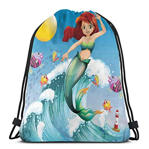 Odelia Palmer Mochilas Estampadas con cordón, ilustración de la Sirenita Linda en la Parte Superior de una Gran Ola en el Surf con niños Peces
