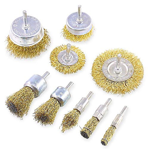 Wire Brush Wheel Cup Brush Set 9 Pack,with 1/4 Inch Round Shank for Rust Paint Corrosion Removal Polishing Clean Rust Flakes and Abrasives Drill Attachment