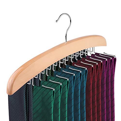 ONEVER Crochet de Cravate en Bois, Crochet Unique 24 Tie Porte-Bagages en Bois Naturel, Choix pour Votre Organisateur de Placard