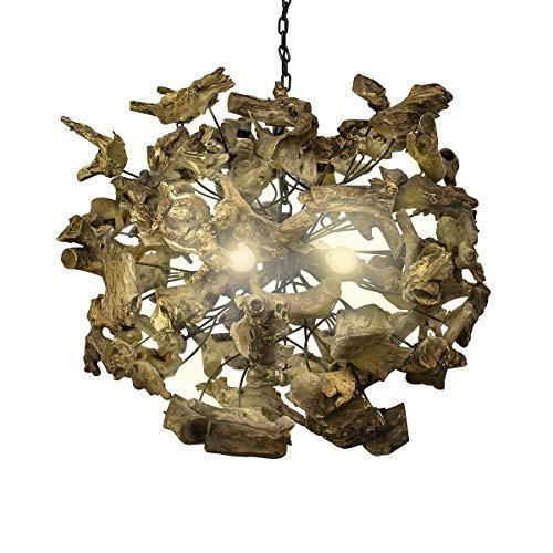 Relaxdays 10019074 Lustre Lampe de suspension RUTH Ø 75 cm Racines de bois Lampe ronde Luminaire 74 x 74 x7 74 cm couleur marron naturelle