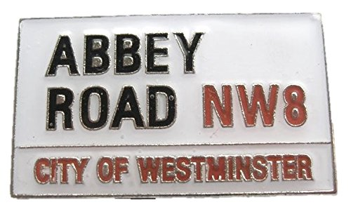 Brosche aus Metall Emaille, Motiv Musik Jahre '60, The Beatles, in Form von Schild Abbey Road