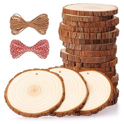 Fuyit Dischetti Legno Grezzo Diametro 9-10cm 20 Pz Naturale Decorazioni Fette Dischetti Grezzo Rotondo Fai da Te Natale Feste Matrimonio Segnaposto