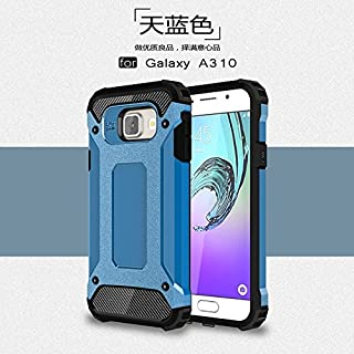 Protective Case Compatible with Samsung Dual Layer Heavy Duty Hybrid Armour Tough Style Shockproof PC+TPU Protective Hard Case Compatible Samsung Galaxy A3 2016 A310 Phone case (Color : Blue)