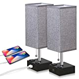 ZEEFO USB Table Lamp, Gray Square Fabric Shade Bedside Table Lamp with Two AC Outlet & Dua...