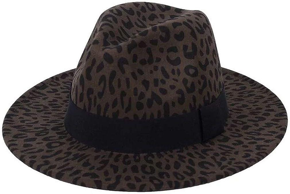Michellecmm Women Vintage Wide Brim Felt Hat Leopard Belt Buckle Fedora Cap Jazz Hat