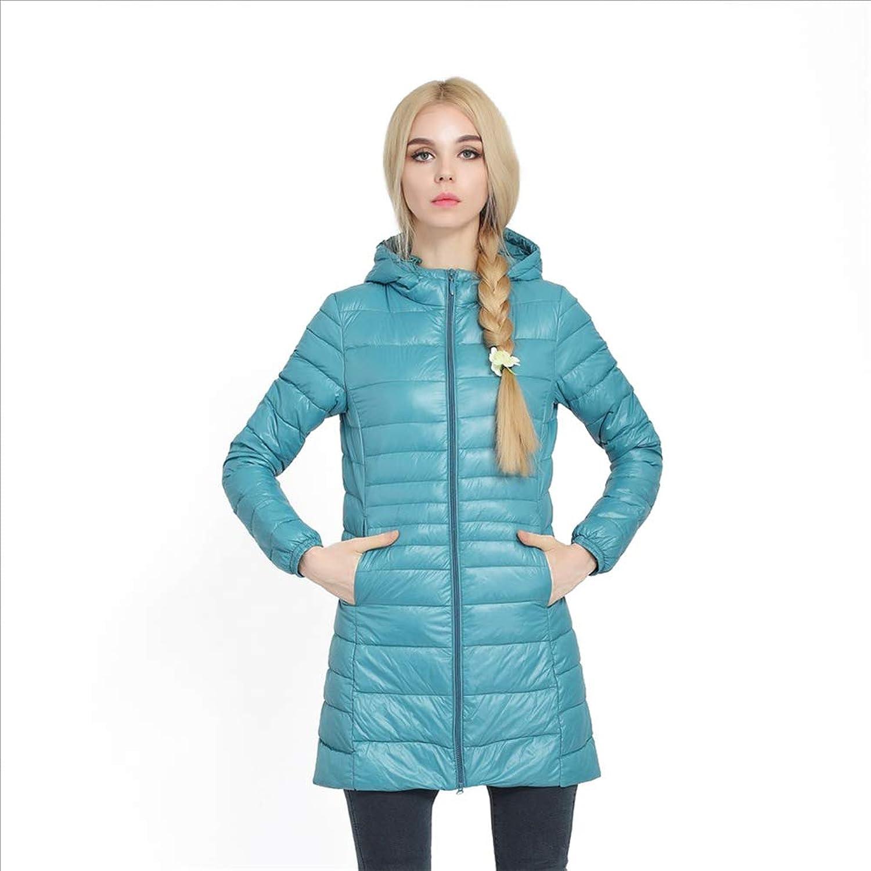 Women's Ultralight Packable Winter Down Jacket with Hood,Medium and Long Section,XXXL