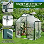 JULY'S SONG Greenhouse,Polycarbonate Walk-in Plant Greenhouse with Window for Winter,Garden Green House Kit for Backyard… 11 【EXTEND THE GROWING SEASON】Perfect for a first-time or seasoned home gardener, JULY'S SONG walk-in greenhouses protect plant against rough weather. You can make sure that your plants are healthy and happy all year round. 【STURDY & DURABLE】This DIY Greenhouse Kit is made of 4mm twinwall UV/wind resistant polycarbonate panels and thickened premium aluminum frame,all this together with heavy-duty galvanized base help provide solid support for your entire plant nursery. 【MULTI-FUNCTION DESIGN】The greenhouse for outdoor has sliding doors for easy access, roof vent for effortless ventilation, and rain gutters for effective drainage of water and snow.