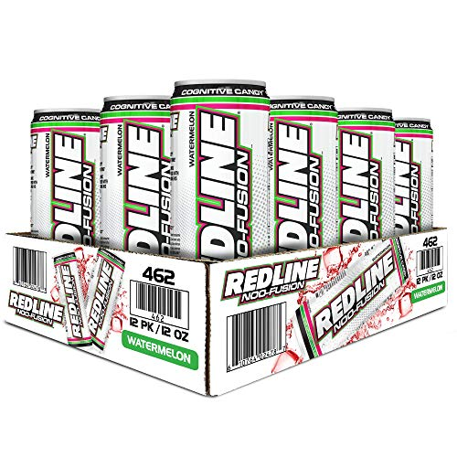 VPX Redline NOO-Fusion - Carbonated Preworkout & Cognitive Enhancing - Sports Nutrition Energy Drink with Caffeine, NOO-Fuel, Super Creatine, Amino Acids - 12 x 12 Fl Oz Cans (Watermelon)