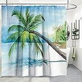 Cortina de ducha con 12 ganchos, diseño botánico de hojas verdes 3D, tela impermeable TANOSAN, diseño de botánica tropical, accesorio de ducha, decoración para bañeras y inodoros