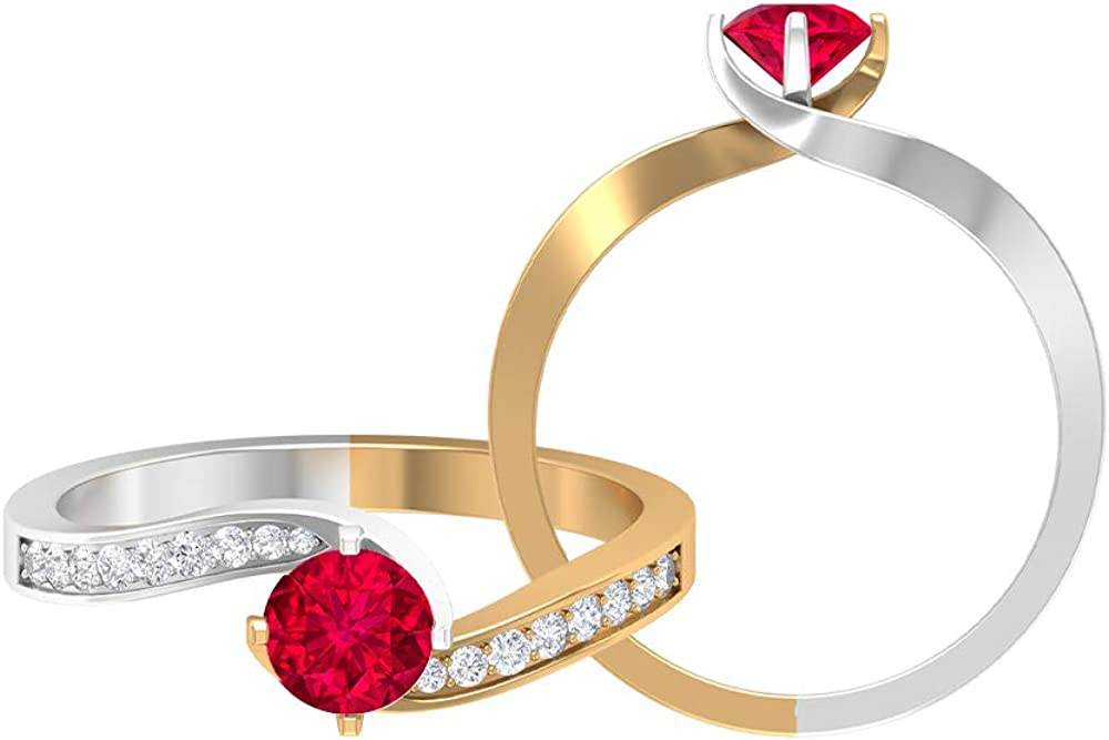 Ruby Solitaire Year-end annual account Ring 2021 new 0.65 CT 0.15 Tw Gold HI-SI Diamond