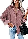 Camisetas de la Cordura for Mujer con Cuello en V botón de Manga Larga túnica de Manga Larga Tops for Mujeres con Blusa de Bolsillo Casual Roll Up Up Up Duffed Tops (Color : Pink, Size : XXL)