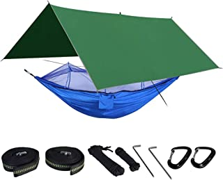 BESMILE Camping Hammock Includes Mosquito Net, Rain Fly, Tree Straps, and Compression Sack | Weighs Only 4 Pounds, Perfect for Hammock Camping