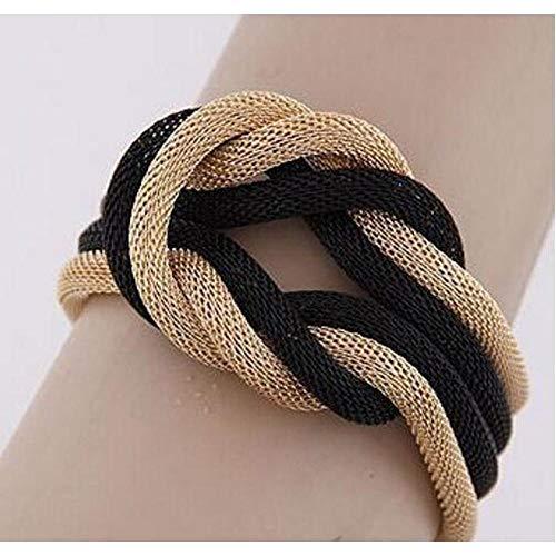 ZYJ Trendy Vrouwen Sieraden Gevlochten Metalen Ketting Manchet Armband Zwart Goud Charms Armbanden Punk Dames Polsband |Charm Armbanden|