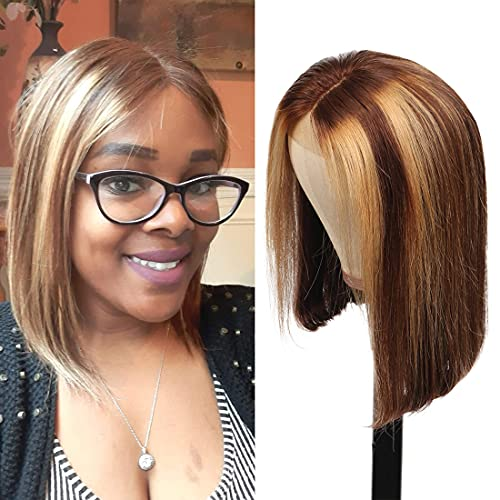 Highlight 4/27 Lace Bob Wigs Human Hair for Women Ombre Lace Front Wig Human Hair Colored Middle Part 4x4 Lace Closure Straight Bob Wigs Pre Plucked 150% Density (8 Inch, Brown mix Honey Blonde)