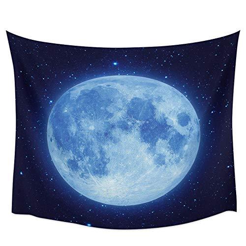 AdoDecor Tapiz de Pared de Cielo Nocturno de Luna Llena Azul, decoración del hogar, Colgante de Pared para Dormitorio, Sala de Estar, 152x102cm