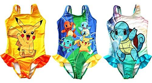 FineApparel UK Pokemon Go Girls Zwemkleding Zwemkleding Kostuum Pikachu Squirtle Charmander (3-4 jaar, Stijl 3)
