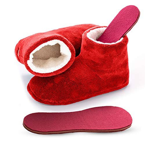 Microwavable Heated Slippers Feet Warmers Booties with Heated Insole Inserts for Instantly Warm Feet - Reusable Reheatable Washable - Promotes Good Night's Sleep- Red Size 8-9 (Medium)