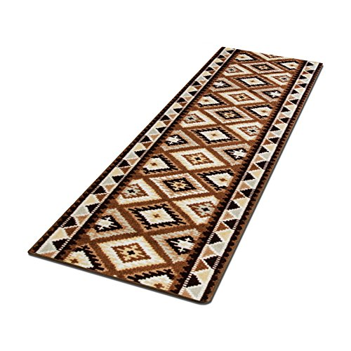 casa pura Läufer mit erdigem Ethno Muster | Braun | GUT Siegel | Qualitätsprodukt aus Deutschland | viele Größen (100x250cm)