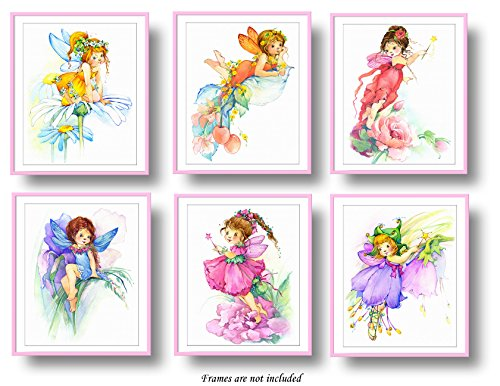 7Dots Art. Flower Fairy. Watercolor Art Print, Poster 8'x10' on Fine Art Thick Watercolor Paper for Childrens Kids Room, Bedroom, Bathroom. Wall Art Decor with Fairies for Boys, Girls. (Set of 6)
