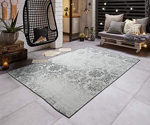 Teppich Boss In- & Outdoorteppich Flachgewebe Wendeteppich Vintage modern, Größe:140x200 cm, Farbe:grau/Creme