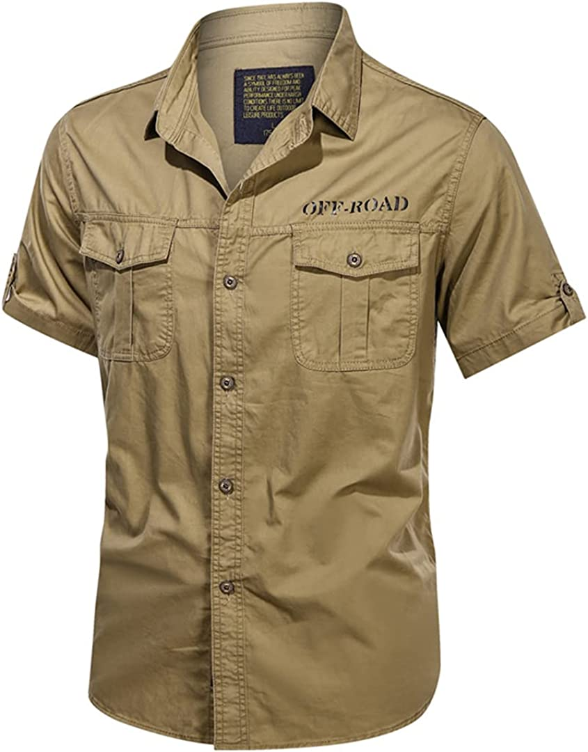 Men's Tactical Cargo Work Shirt Military Short Sleeve Shirts for Men Slim Fit Button Down Casual 3XL