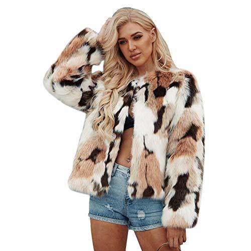YYW Dames Winter Warm Chic pluizige Faux Bont Jas Vest Lange Mouw Bovenkleding.