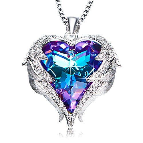 NEWNOVE Heart of Ocean Pendant Necklaces for Women Made with Swarovski Crystals Purple Swarovski Crystals
