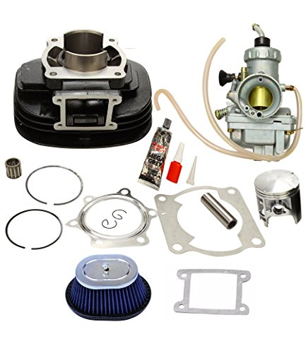 BLACKHORSE-RACING Cylinder Head Carburetor Air Filter Cleaner Top End Kit Piston Rings Gaskets with Circlips Compatible with 1988-2006 Yamaha Blaster 200 YFS200