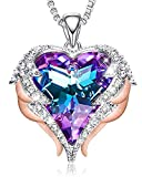 CDE 18K Rose Gold Women Necklace Heart Pendant Embellished with Austrian Crystals Angel Wing Valentine's Day Jewelry Gifts for Women Mom Her