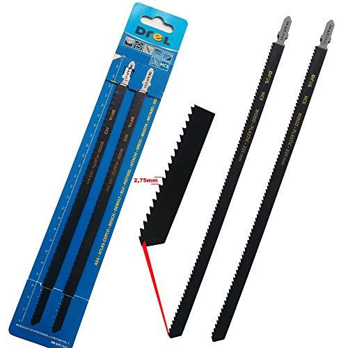 Drell - Hojas de sierra de calar para madera, 250 mm, extralargas, corte grueso y rápido, hojas compatibles con sierra de calar de Makita, Bosch, Metabo, 2 unidades