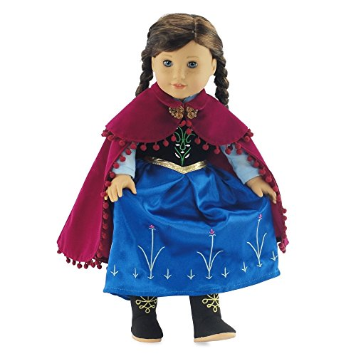 """Fits 18"""" American Girl Dolls   Princess Anna Inspired Dress With Boots   18 Inch Doll Clothes Outfit Costume Gown"""