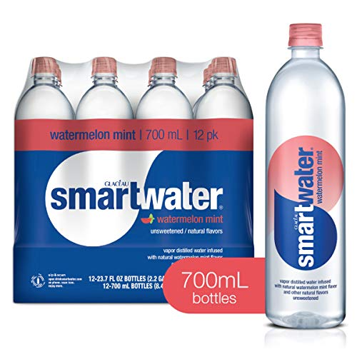 smartwater Watermelon Mint, Vapor Distilled Premium Bottled Water, 23.7 Fl Oz, 12 Pack, Watermelon Mint, 23.7 Fl Oz (Pack of 12)
