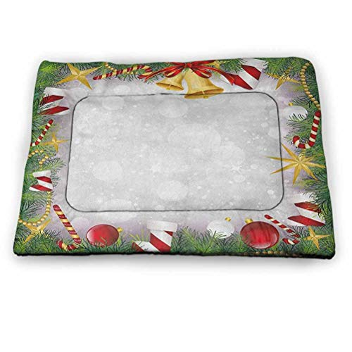 "DayDayFun Christmas Pet Mat Bed Xmas Eve Carol Theme Frame Pine Spikes Candy Jingle Hand Bells and Ribbon Image Pet Mats for Food and Water Multicolor 21""x14"""