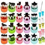 Pwsap Set di 31 Formine per Biscotti e Verdure, Mini tagliapasta in Acciaio Inox, per Dolci Biscotti Sushi Frutta Verdure, Stampo a Forma di Animali con 1 pz Pennello + 10 Cartoon stuzzicadenti