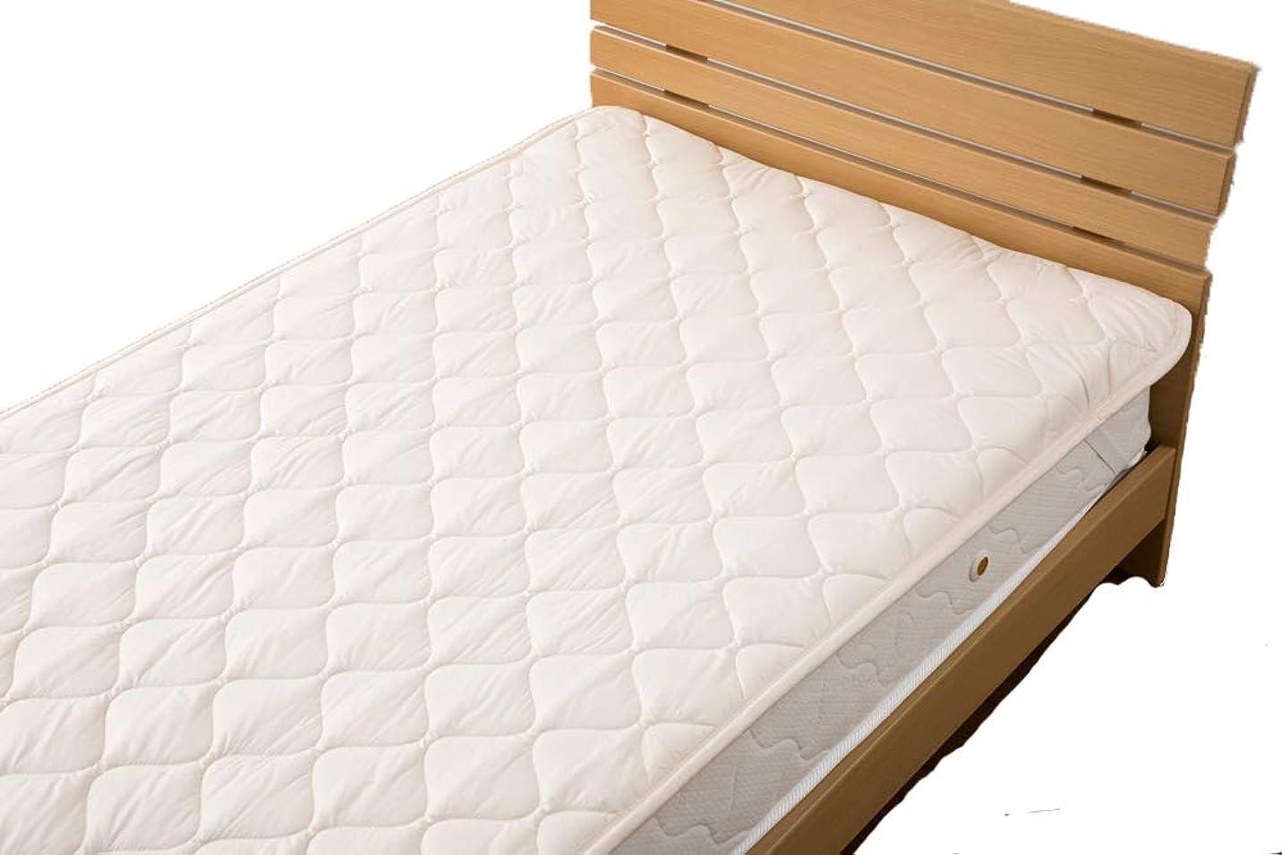 説教するブリード海洋国産 ウール100% 敷きパッド 丸洗い可能 吸水性あり 冬は暖かく 夏は涼しい ベッドパッド (120×200cm セミダブル(中綿:1.2kg))