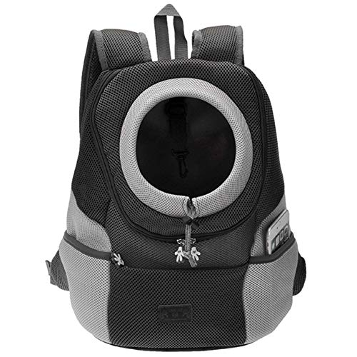 Mogoko Airline Approved Cat Dog Backpack, Puupy Pet Carrier Front Bag with Breathable Head Out Design and Double Mesh Padded Shoulder for Outdoor Travel Hiking (L, Black)