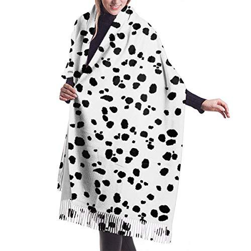 Tengyuntong Bufanda de mantón Mujer Chales para, Lesmus Cute Spots Dots Perro dálmata Estampado 3D Impreso Moda Cashmere Algodón Bufandas Talla única