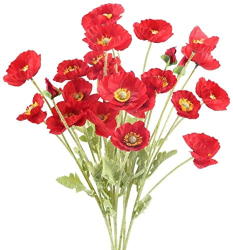 MFHDK Statues Sculptue Sculptures,6Pcs Artificial Poppies Red Fake Silk Poppies Flowers Faux Corn Poppy Flowers with 4 Flower Heads for Grave Home Kitchen Garden Wedding Indoor Outdoor Decor