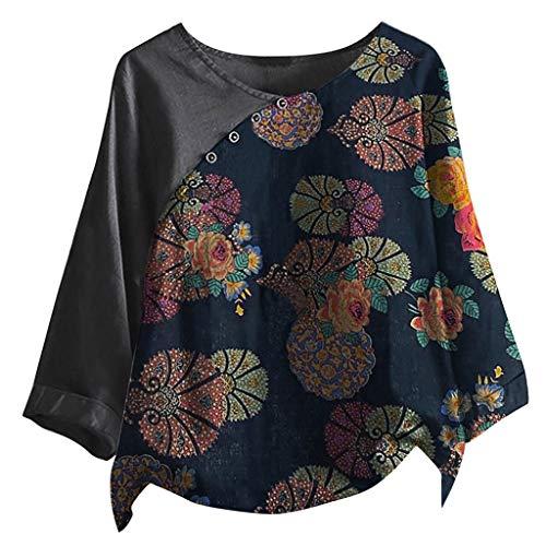 Snakell Mujer Camiseta Casual Tallas Grandes Bohemia Camiseta de Manga 3/4 Elegante...