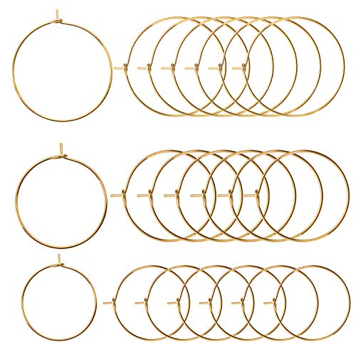 BronaGrand 150 Pieces Gold Plated Wine Glass Charm Rings Earring Hoops 3 Sizes,30mm,25mm,20mm