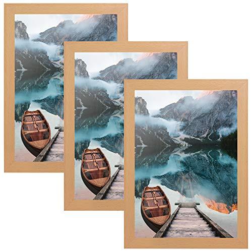 CABBEL 3er Set Bilderrahmen DIN A4 21x30 MDF Holz-Rahmen mit bruchsicherem Acrylglas, ideal für Collagen, Portraits & Urkunden in Natur