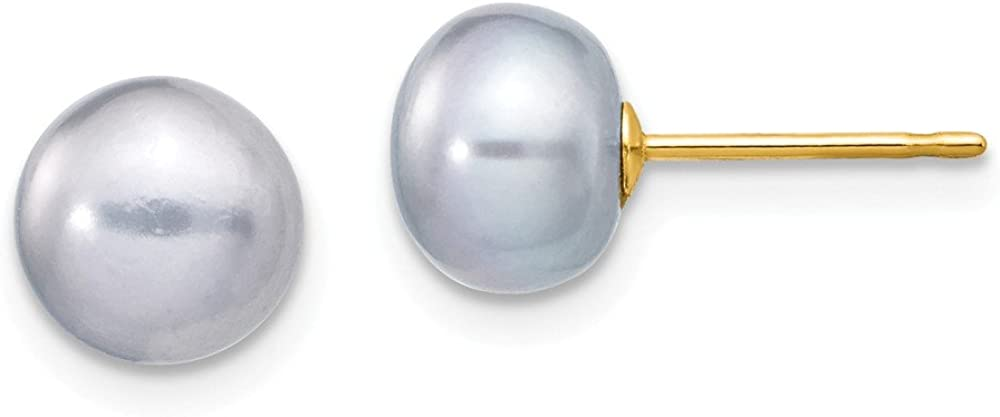 Solid 14k Yellow Gold 7-8mm Grey Button FW Cultured Pearl Stud Earrings