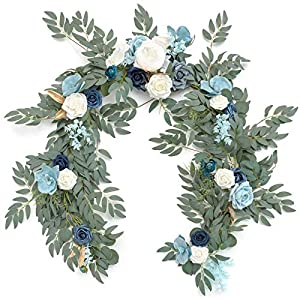Ling's moment Artificial Eucalyptus Garland with Moth Orchids Flowers 6.5FT, Wedding Table Garland with Flowers Handcrafted Wedding Centerpieces for Rehearsal Dinner Bridal Shower | Aquamarine & White